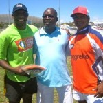 Bobo and Paulse with Mr Khamsholo from Siyabulela Primary School